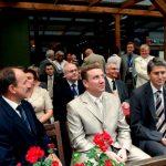 Prezydent Marek Kopel oraz zastępca prezydenta Joachim Otte w środku mer Tarnopola (Ukraina) Roman Zastawny. Z tyłu wiceprezydent Siemianowic i Katowic